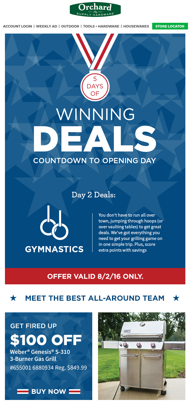 orchard supply hardware olympic email design