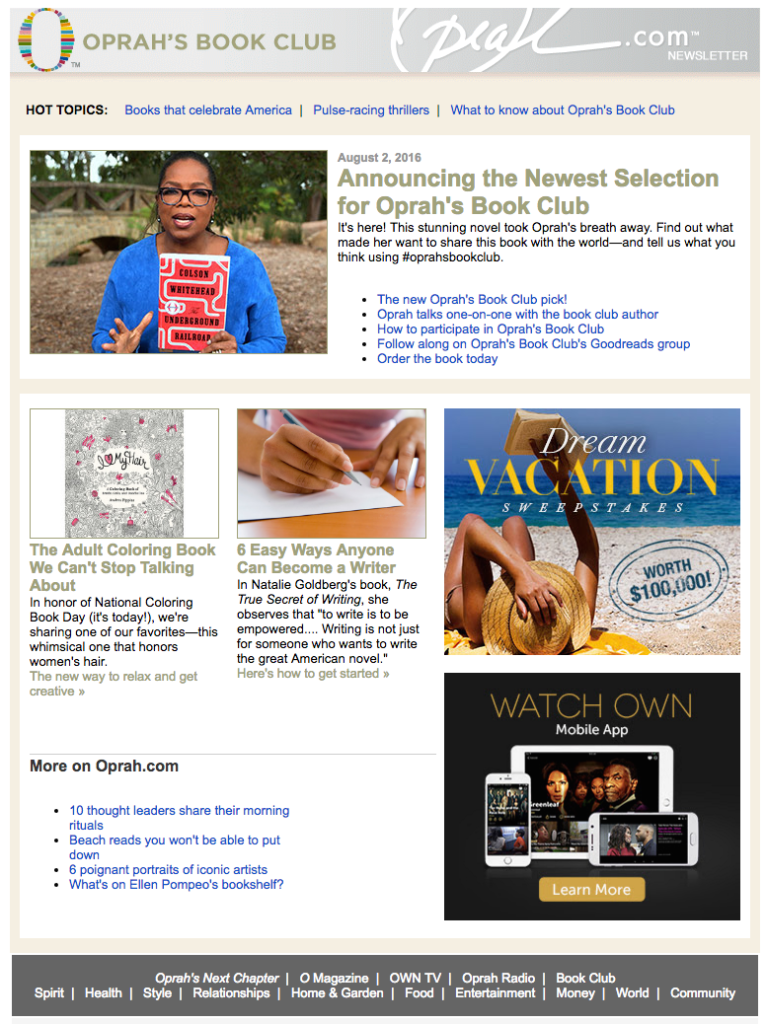 oprah book club celebrity email newsletters