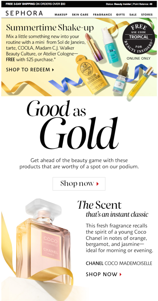 sephora olympic email design