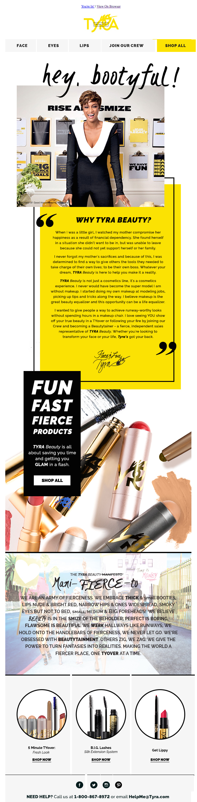 tyra beauty celebrity email newsletters
