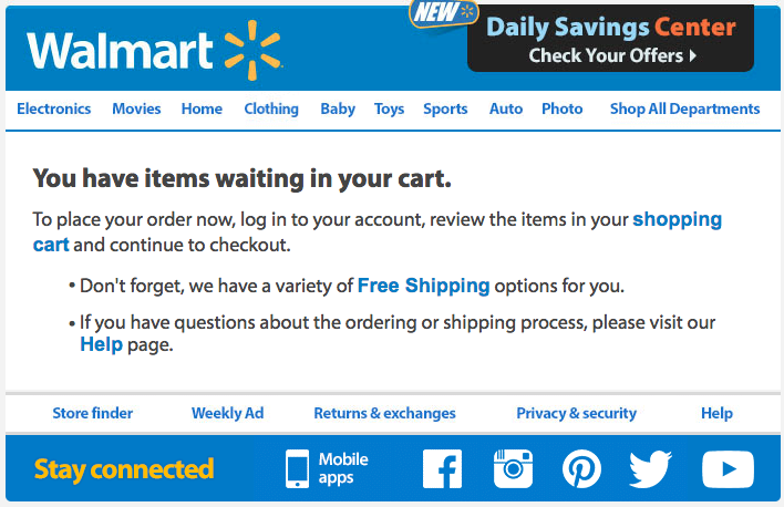 walmart abandoned cart email strategy