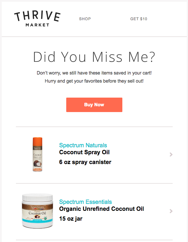 thrive market cart abandonment emails
