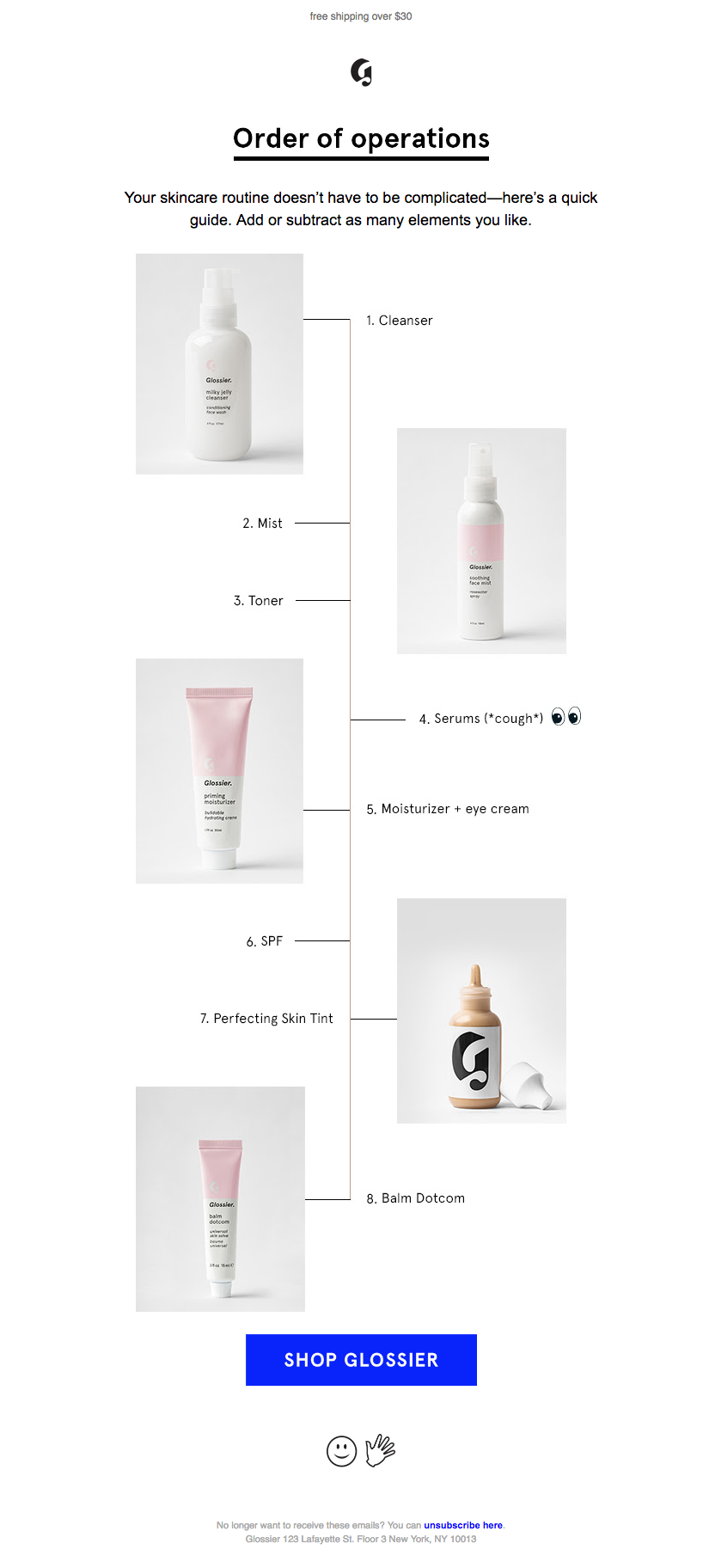 glossier-use Simple Email Design