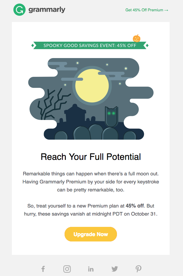 Grammarly halloween email campaigns