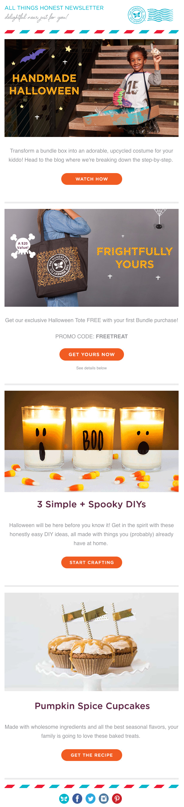 honest company halloween email campaigns