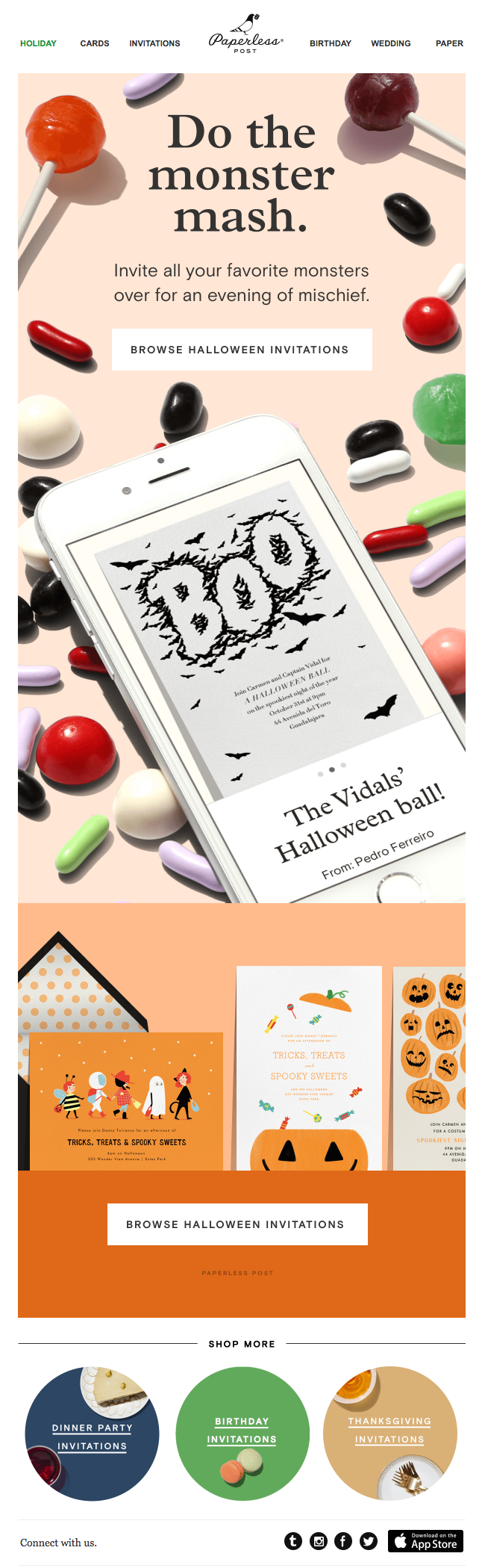 paperless post halloween email campaigns