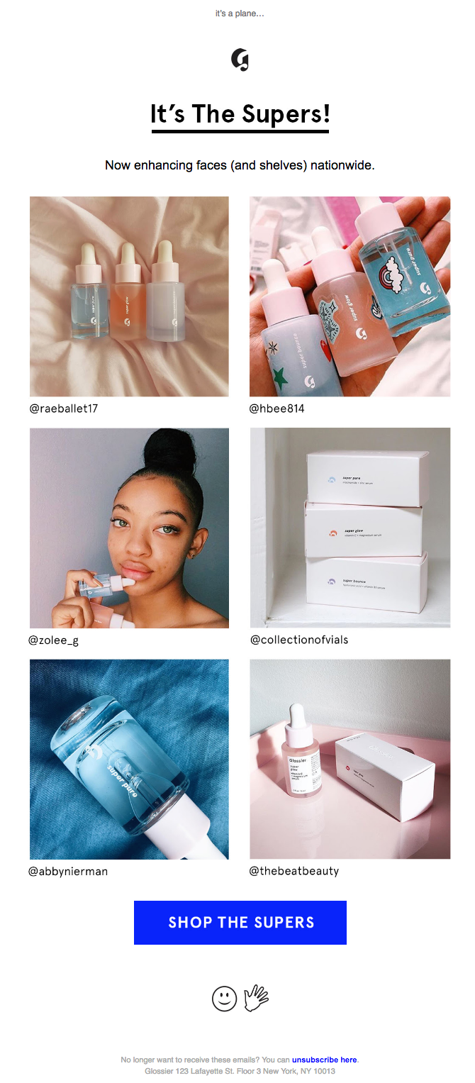 glossier new product email campaign