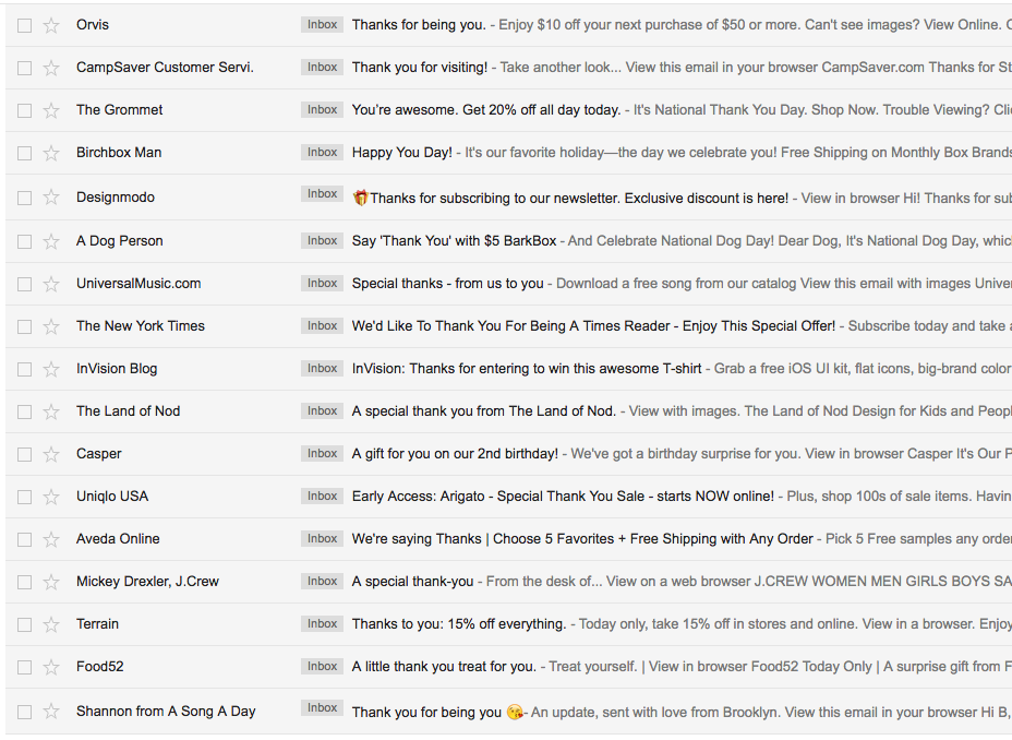 Customer Appreciation Emails subject headlines