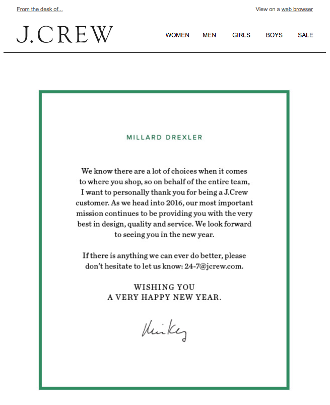jcrew customer appreciation emails