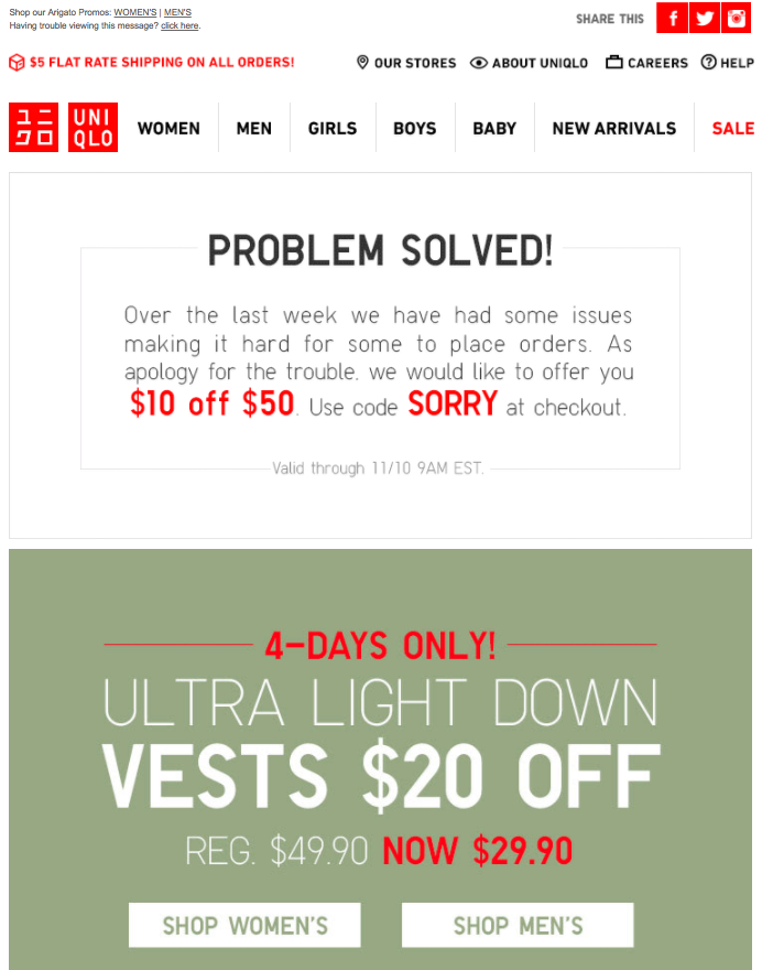 uniqlo apology emails