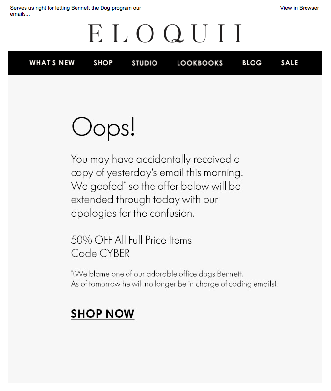 eloquii apology emails