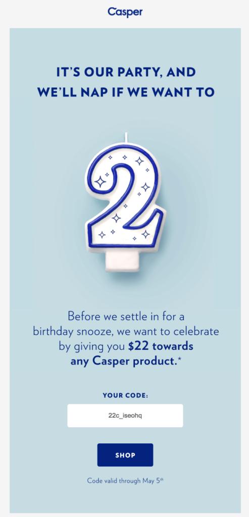 Casper customer appreciation emails