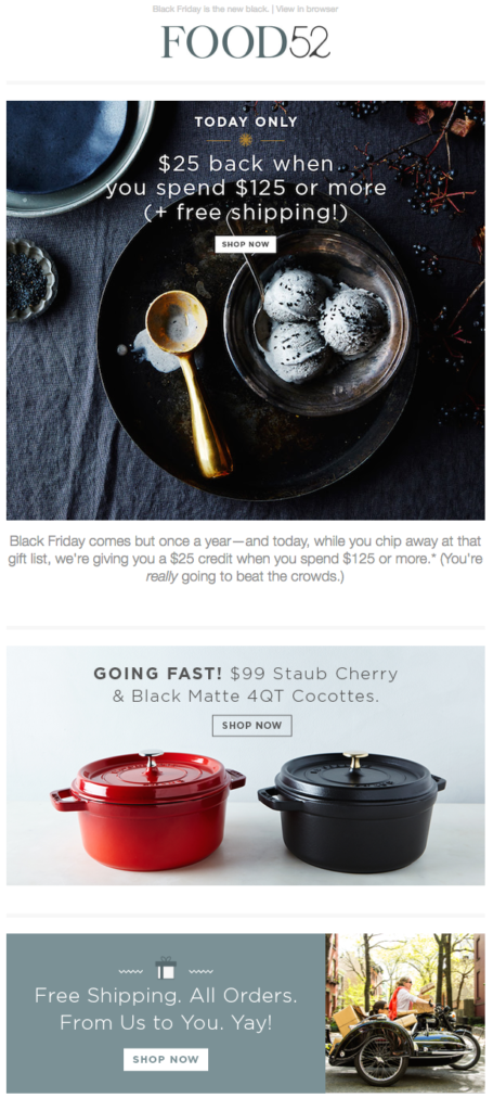 food52 black friday email