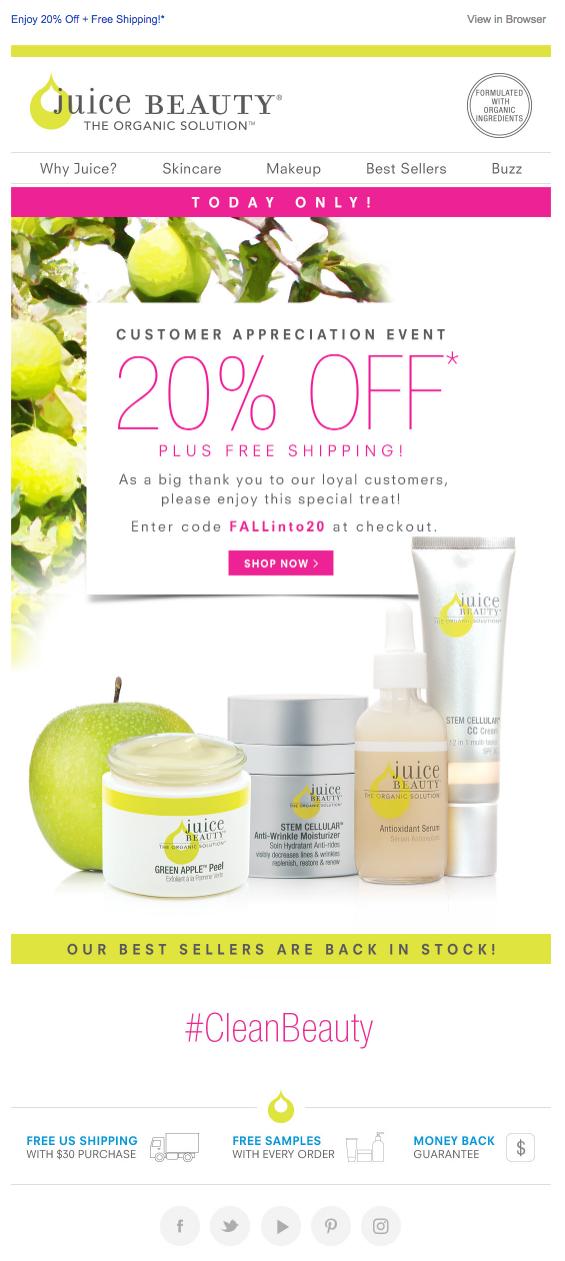 Juice Beauty customer appreciation emails