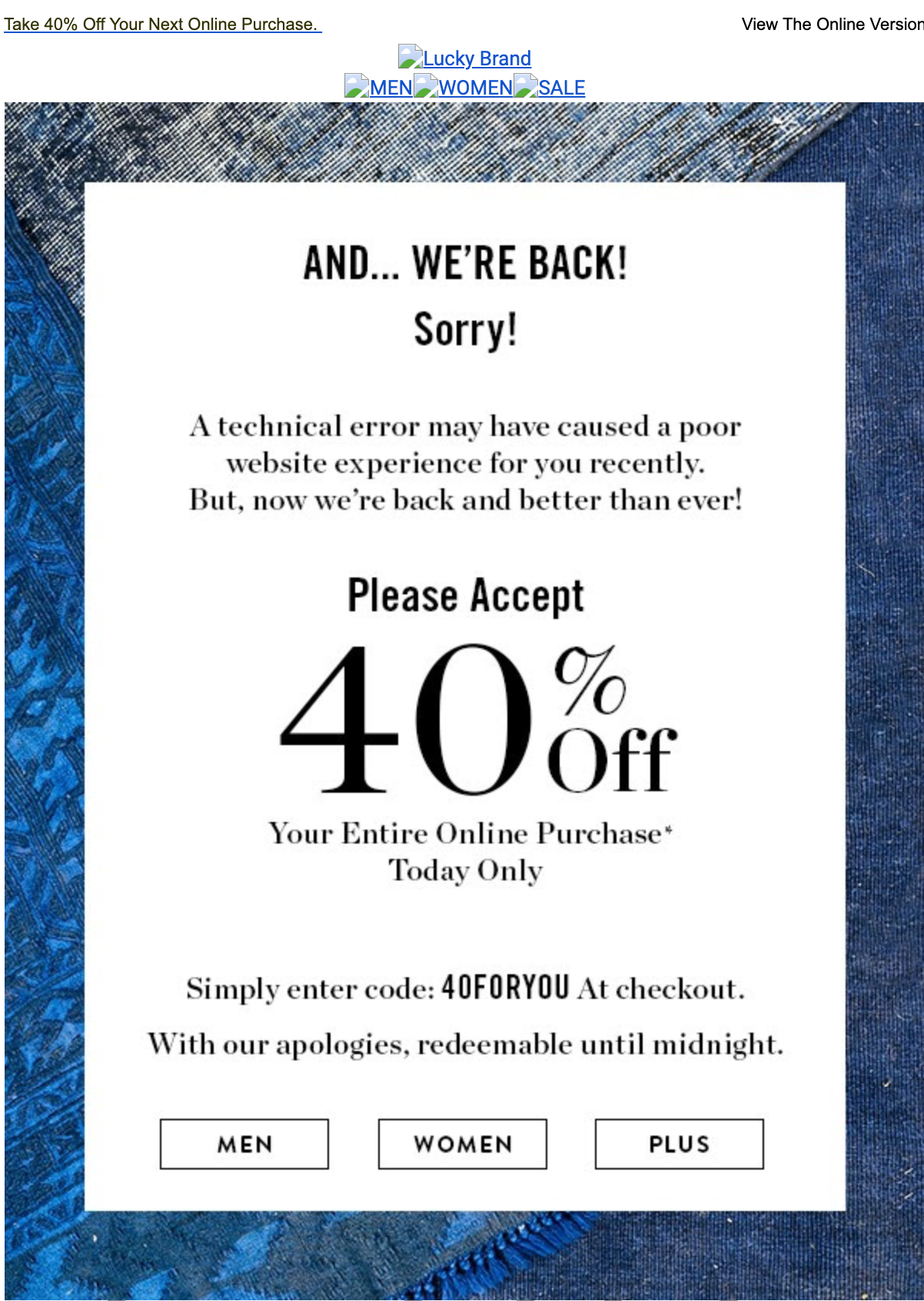 apology email with discount