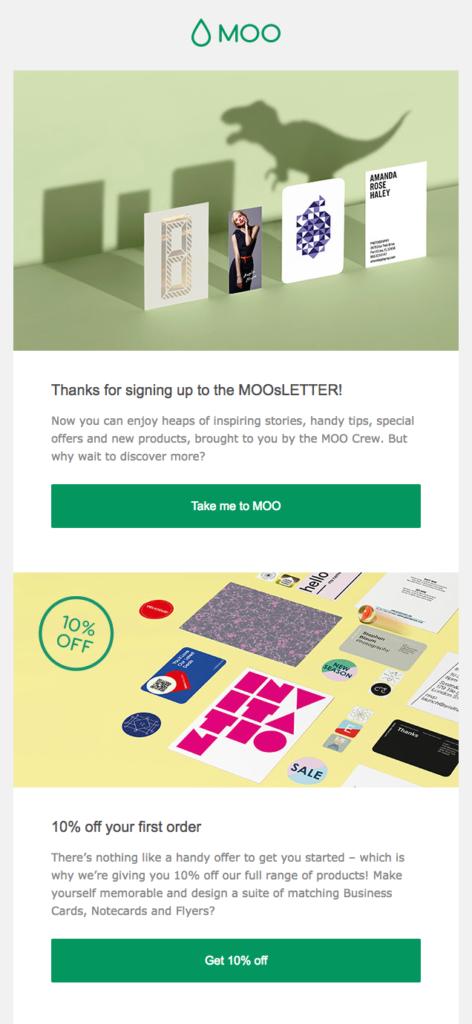 Moo customer appreciation emails