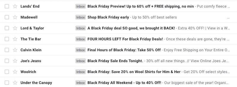 black friday email subject lines