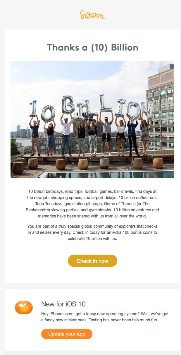 Swarm customer appreciation emails