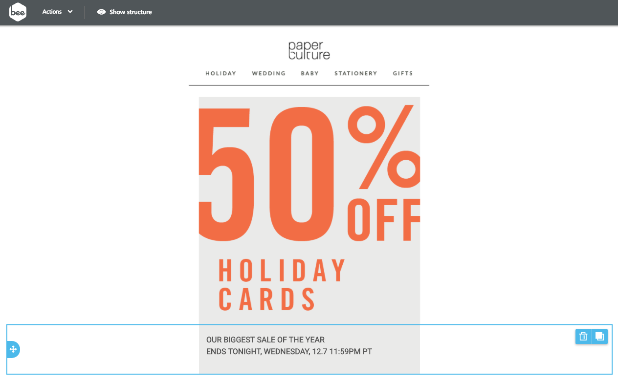 sale email with a christmas countdown timer