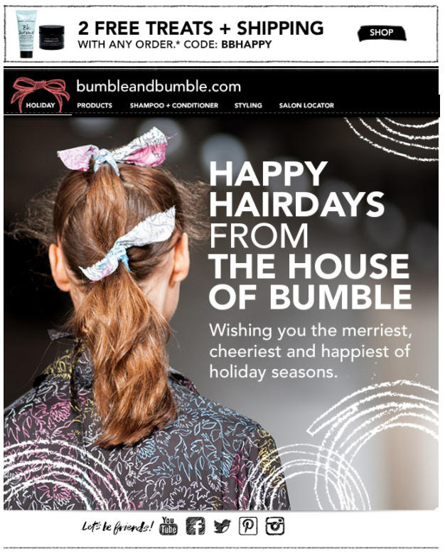 Bumble and bumble holiday e-Card for clients