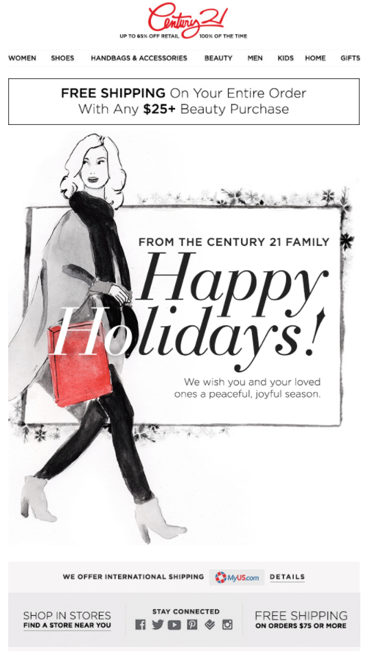 century 21 holiday e-Card for customers