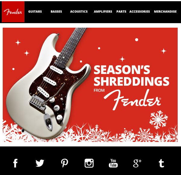 fender holiday e-Cards for clients