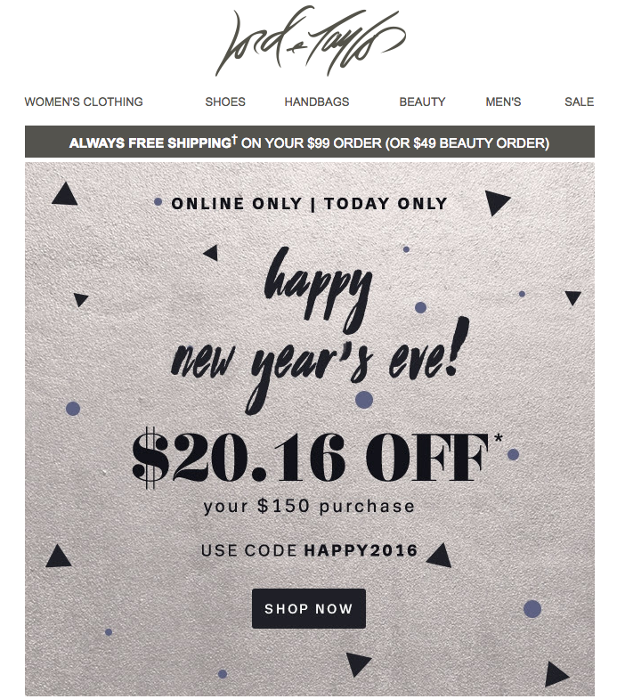 lord and taylor new year email
