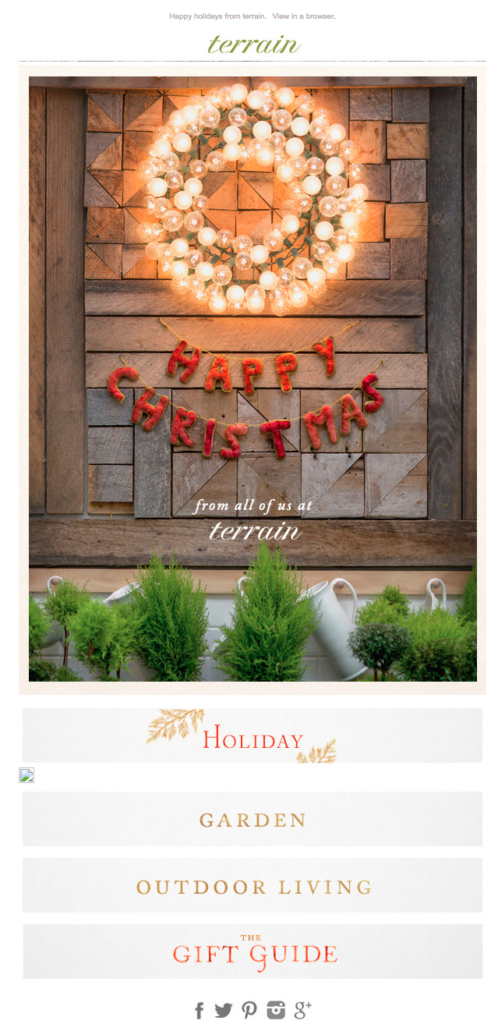 terrain holiday e-Cards for clients