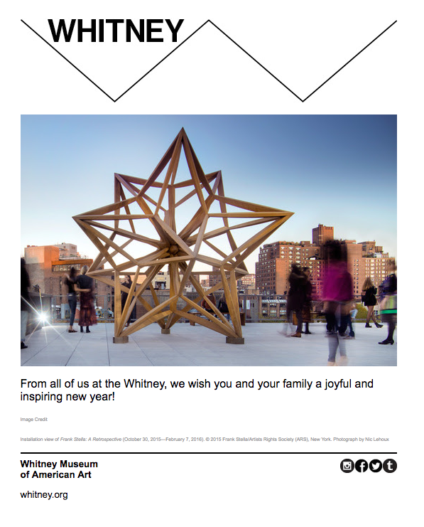 whitney museum new year email