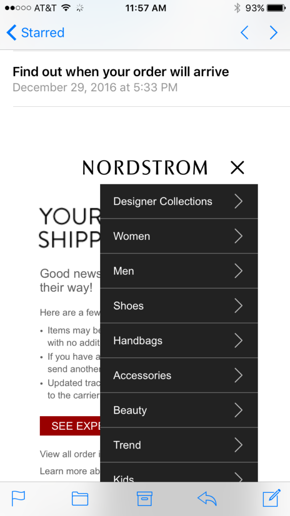 Nordstrom tablet email design