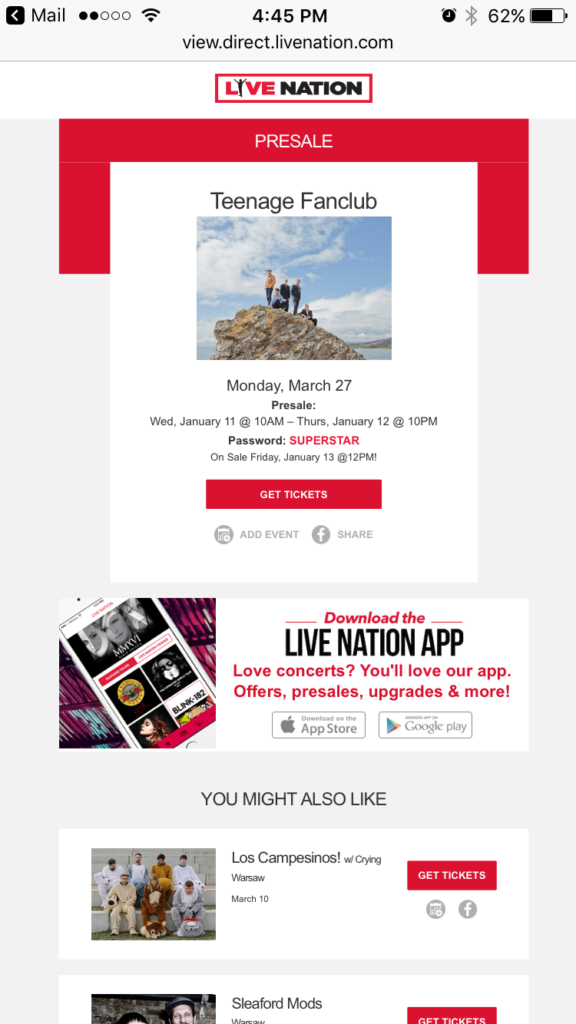 Live Nation Email Interactivity