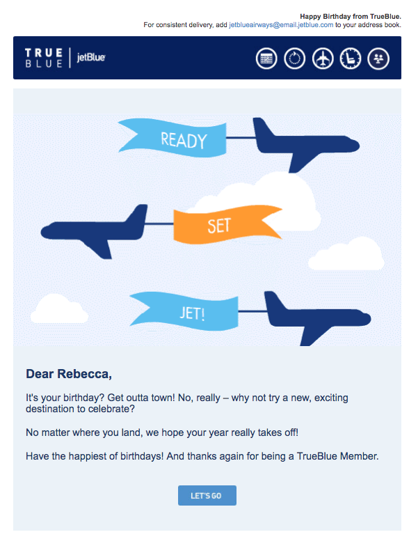 jetblue birthday emails