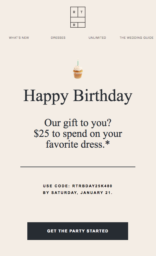 rent the runway birthday emails
