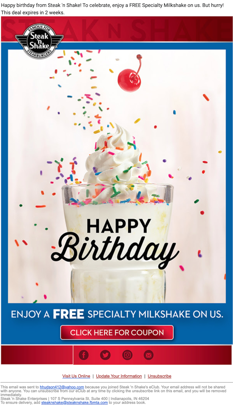 colorful birthday email