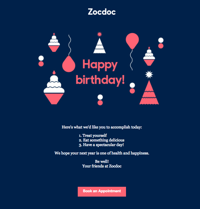zocdoc birthday emails