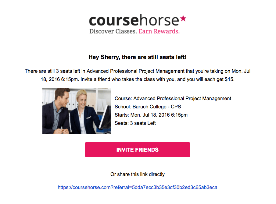 CourseHorse event reminder emails