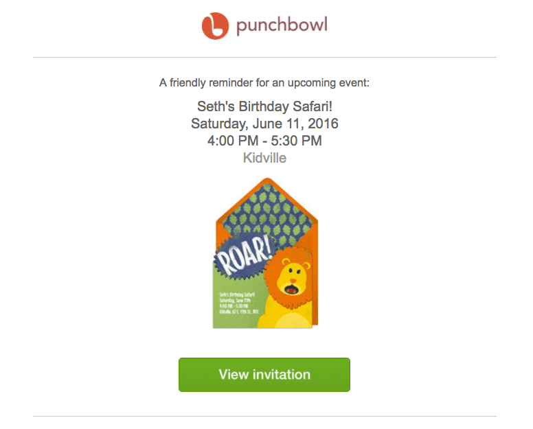 Punchbowl event reminder emails