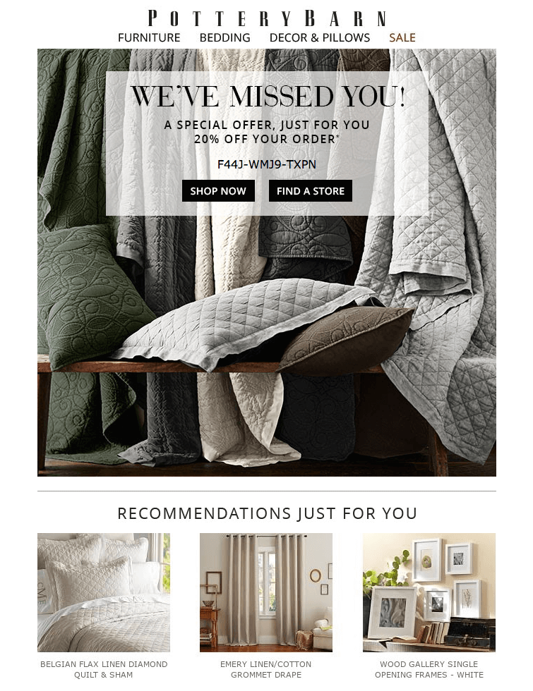 Pottery Barn reengagement emails