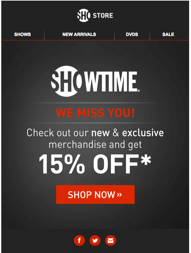 Showtime reengagement emails