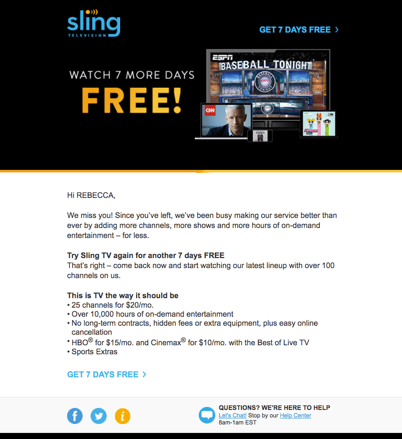 sling television reengagement emails
