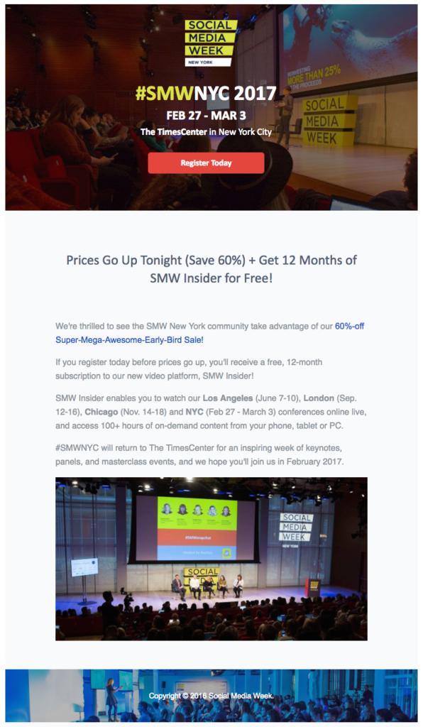 Social Media Week event reminder emails