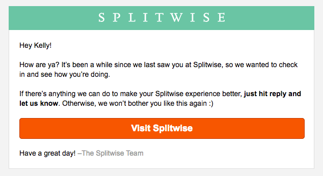 Splitwise reengagement emails