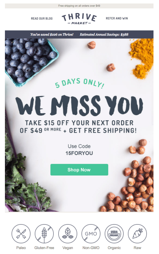 Thrive Market reengagement emails