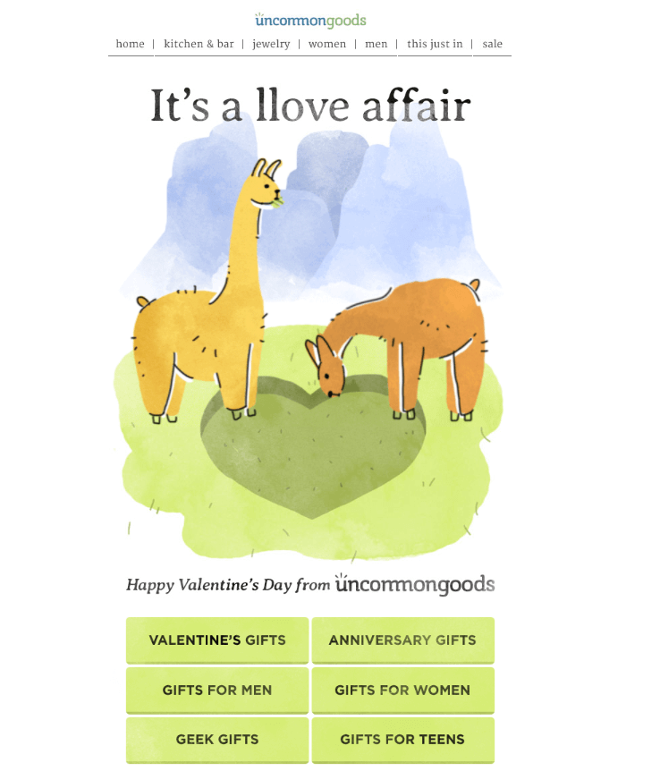 Uncommon Goods Valentine's Day Email GIFs