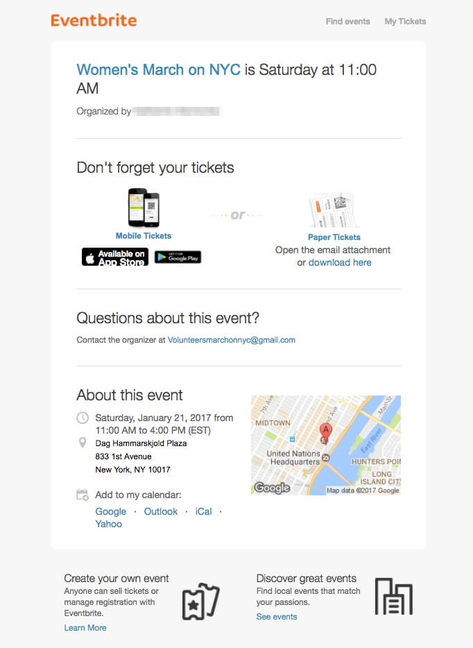Eventbrite event reminder emails
