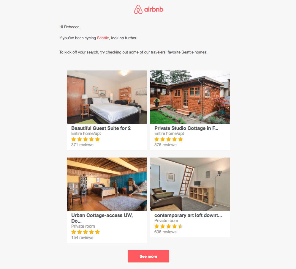 AirBnB email personalization