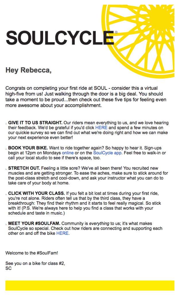 Soulcycle email personalization