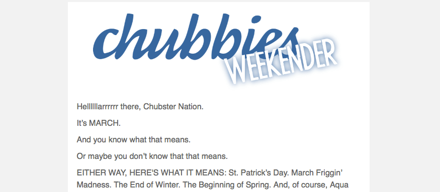 Chubbies email headers