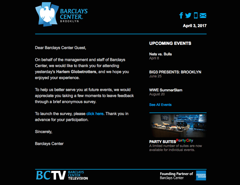 Barclays Center Event Follow-up Emails