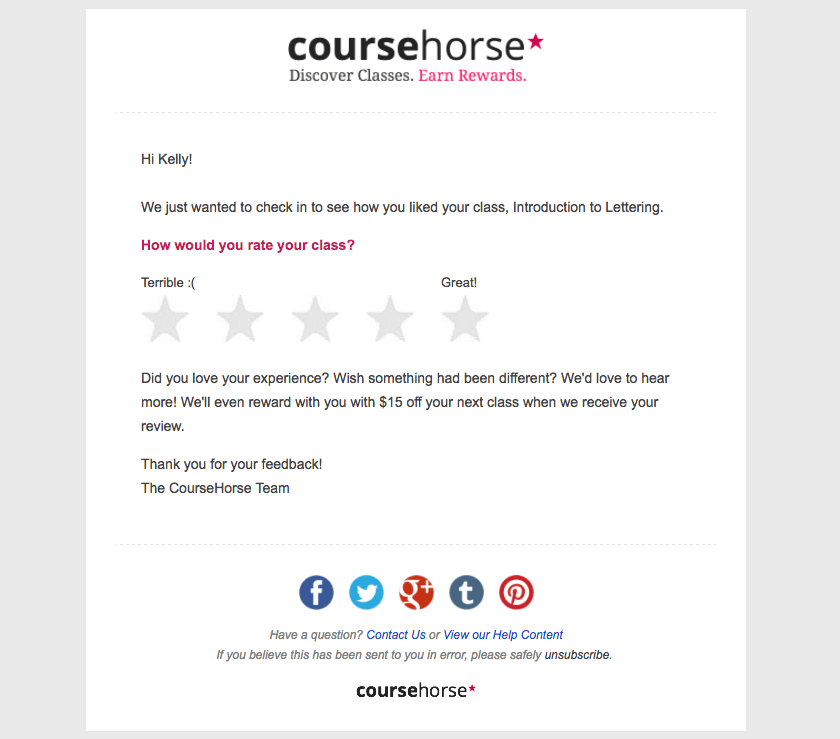 Course Horse event follow-up emails